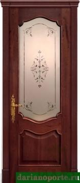 Дверь Ника стекло - красное дерево