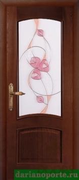 Дверь Мира стекло - красное дерево