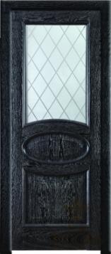 Дверь Арго стекло - дуб белый патина орех